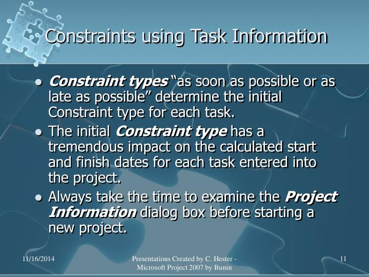 Constraints using Task Information