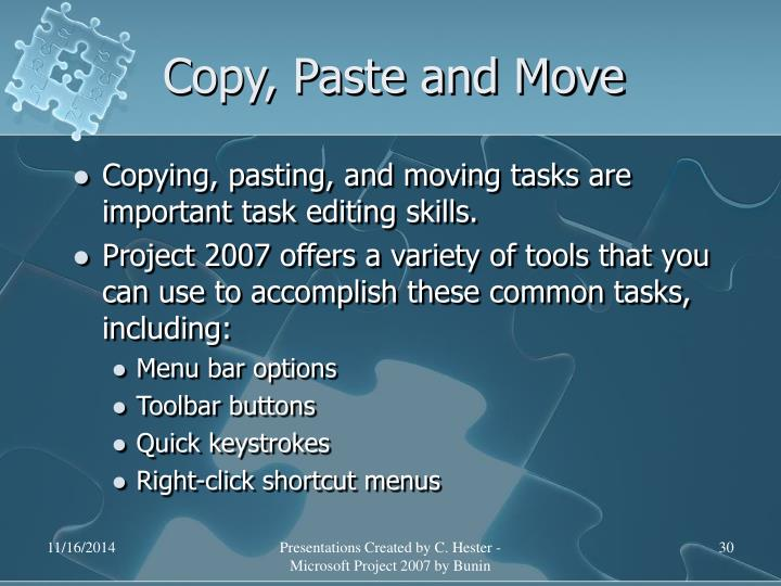 Copy, Paste and Move