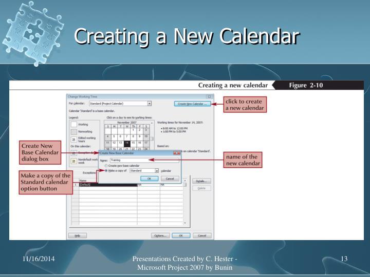 Creating a New Calendar