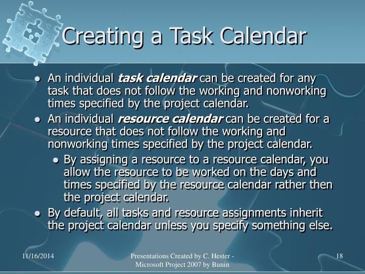 Creating a Task Calendar