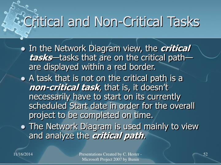 Critical and Non-Critical Tasks