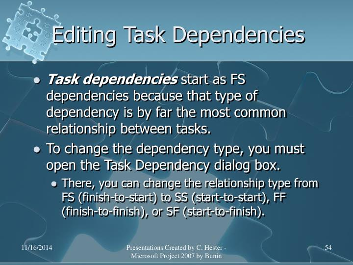 Editing Task Dependencies