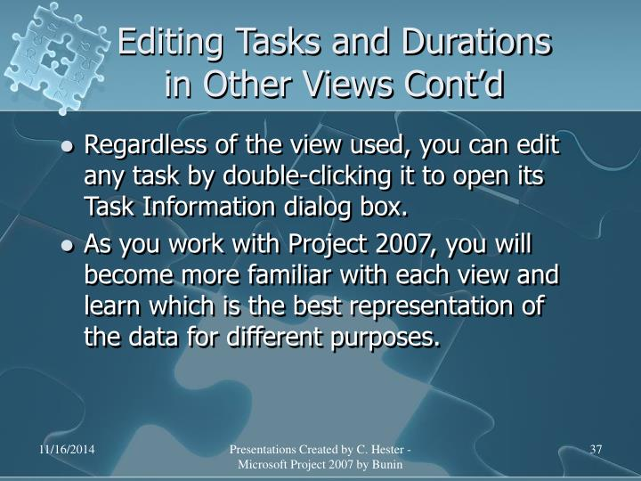 Editing Tasks and Durations