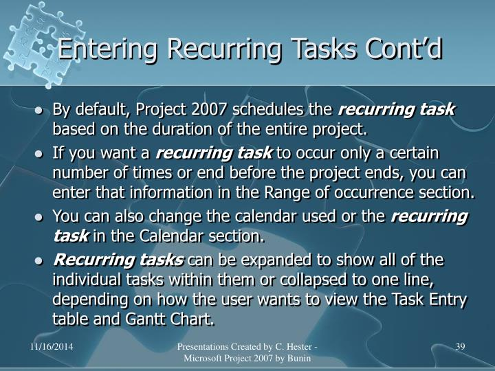 Entering Recurring Tasks Cont'd
