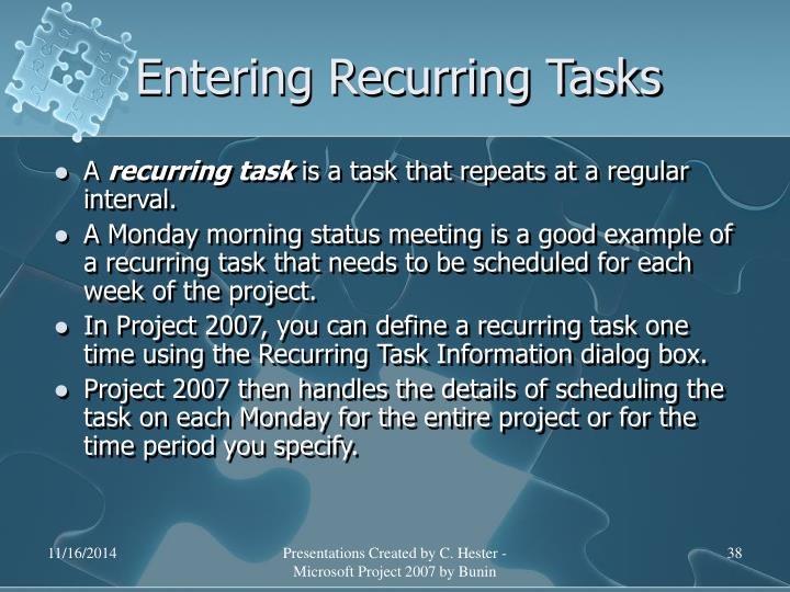 Entering Recurring Tasks