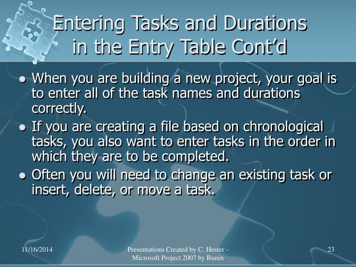 Entering Tasks and Durations