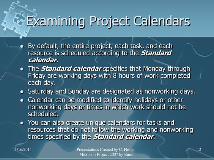 Examining Project Calendars