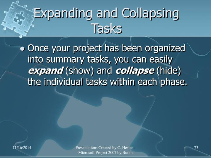 Expanding and Collapsing Tasks
