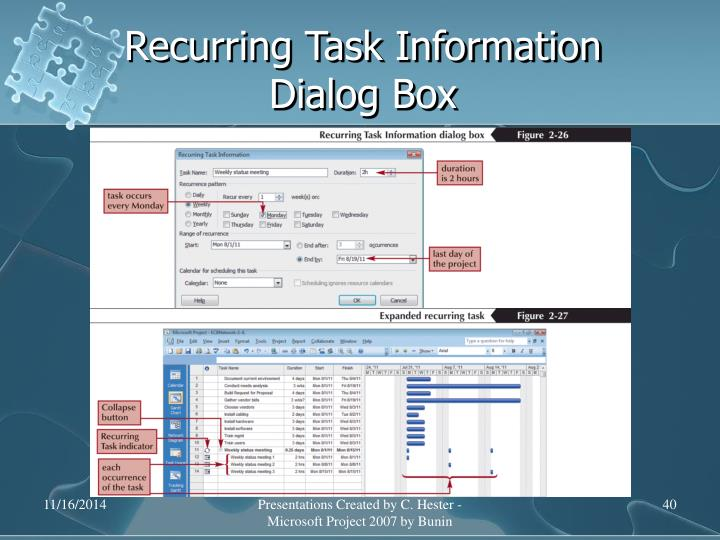 Recurring Task Information Dialog Box