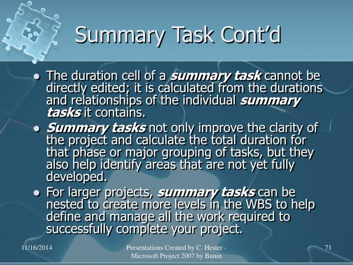 Summary Task Cont'd