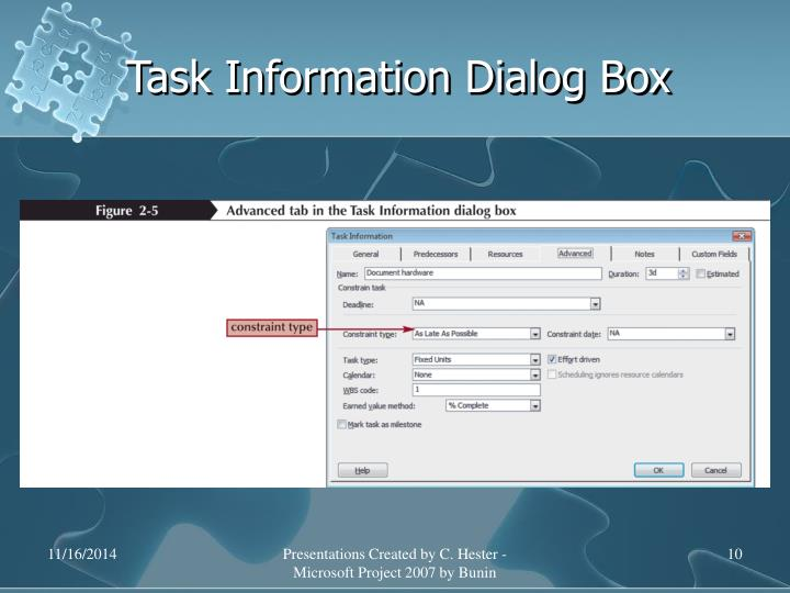 Task Information Dialog Box