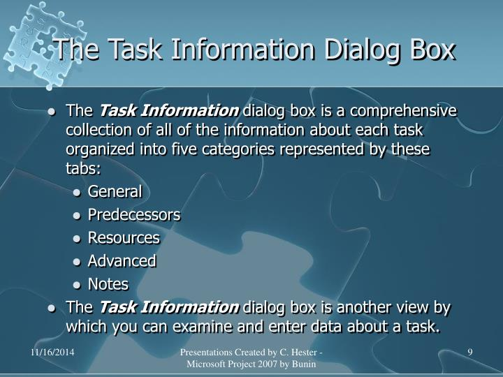 The Task Information Dialog Box