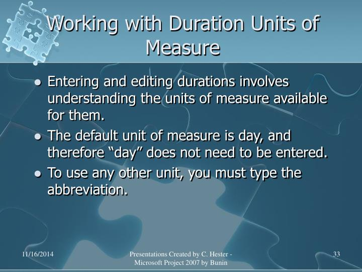 Working with Duration Units of Measure