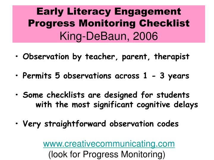 Early Literacy Engagement Progress Monitoring Checklist