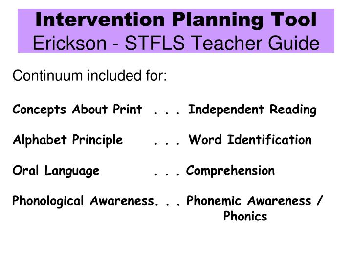 Intervention Planning Tool