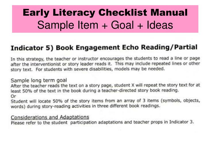 Early Literacy Checklist Manual