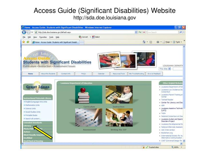 Access Guide (Significant Disabilities) Website