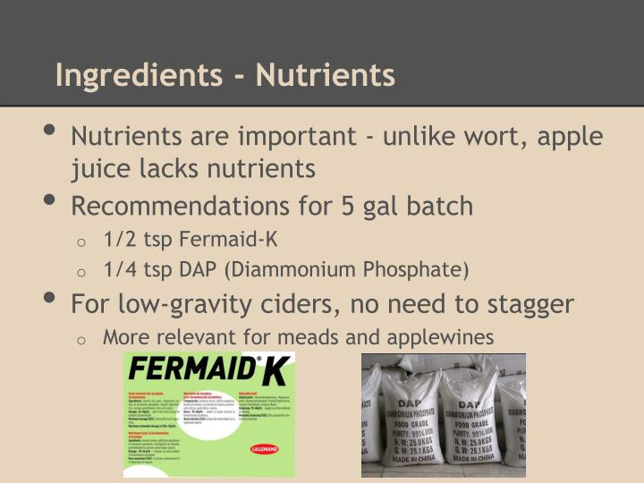 Ingredients - Nutrients