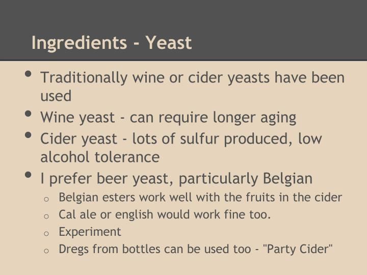 Ingredients - Yeast