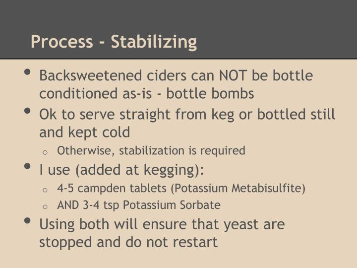 Process - Stabilizing