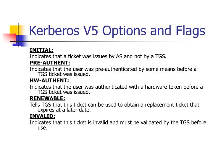 Kerberos V5 Options and Flags