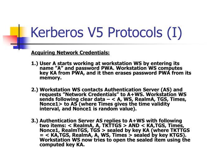 Kerberos V5 Protocols (I)