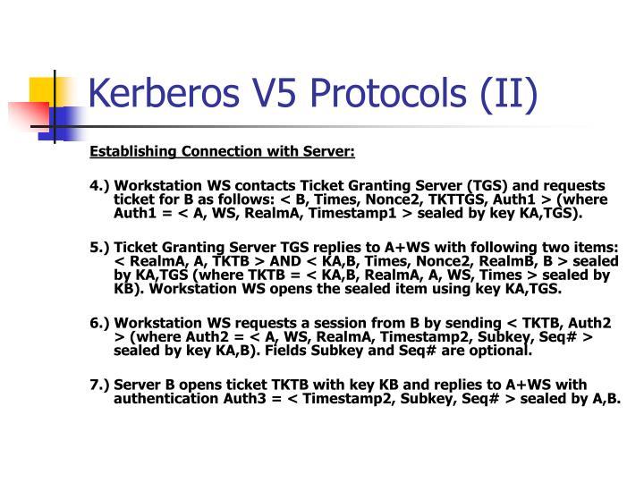 Kerberos V5 Protocols (II)