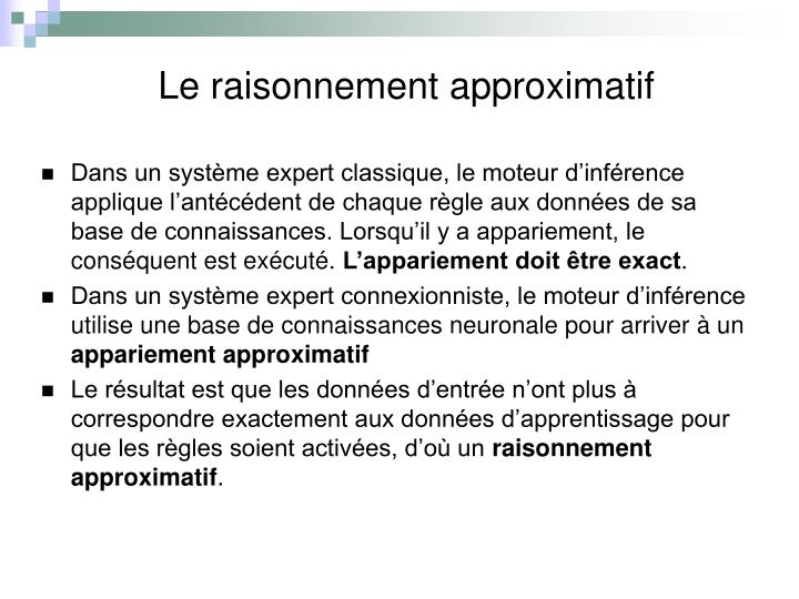 Le raisonnement approximatif