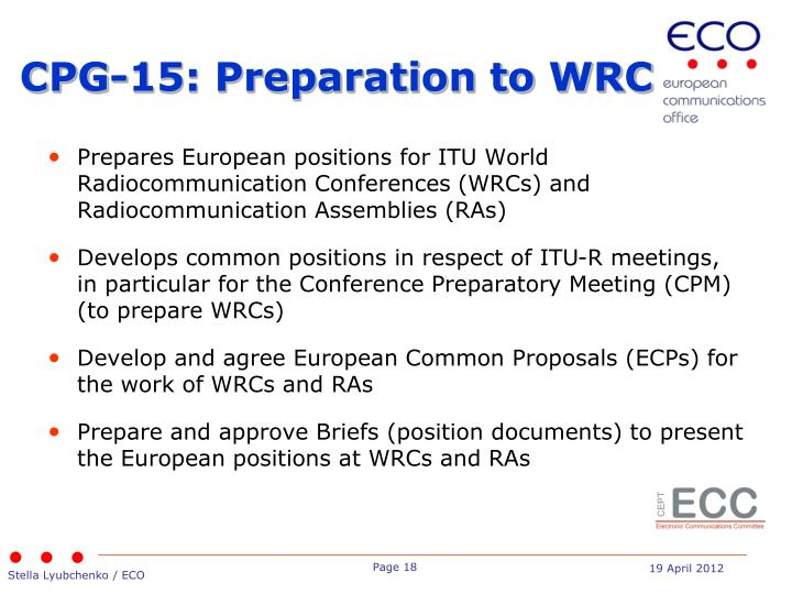CPG-15: Preparation to WRC