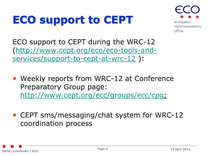 ECO support to CEPT