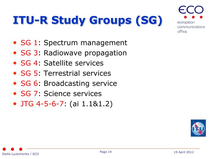 ITU-R Study Groups (SG)