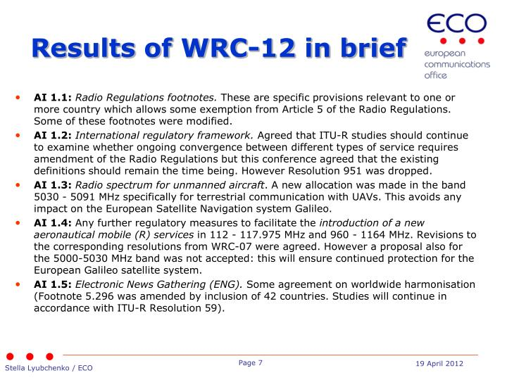 Results of WRC-12 in brief