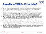 results of wrc 12 in brief