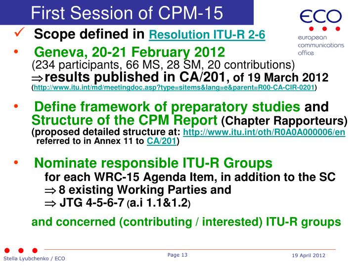 First Session of CPM-15