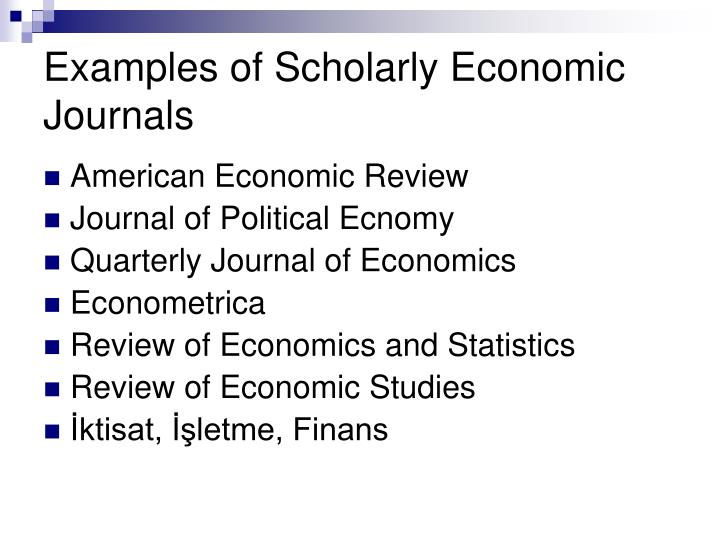 Examples of Scholarly Economic Journals