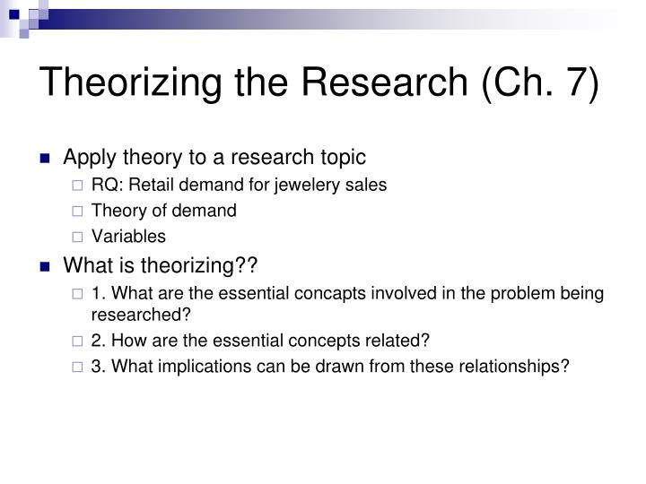 Theorizing the Research (Ch. 7)
