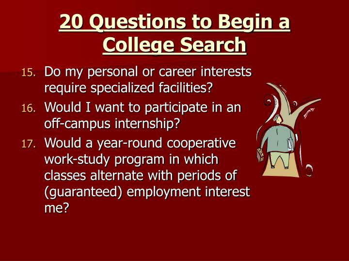 20 Questions to Begin a College Search