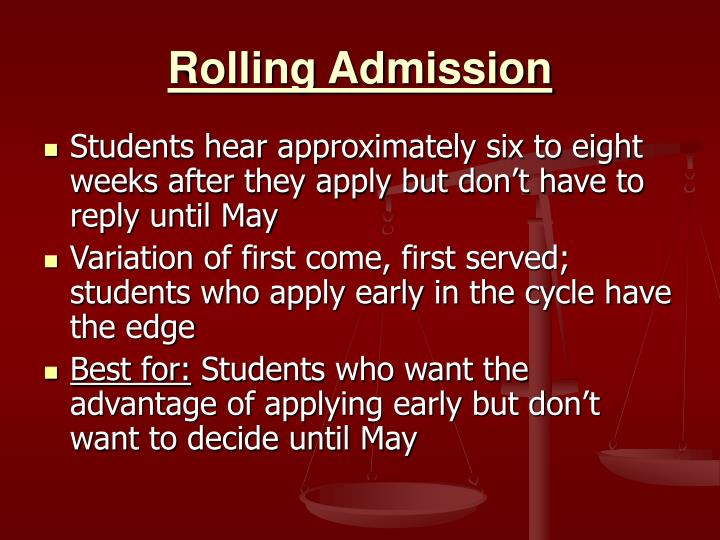 Rolling Admission