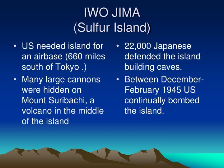 US needed island for an airbase (660 miles south of Tokyo .)