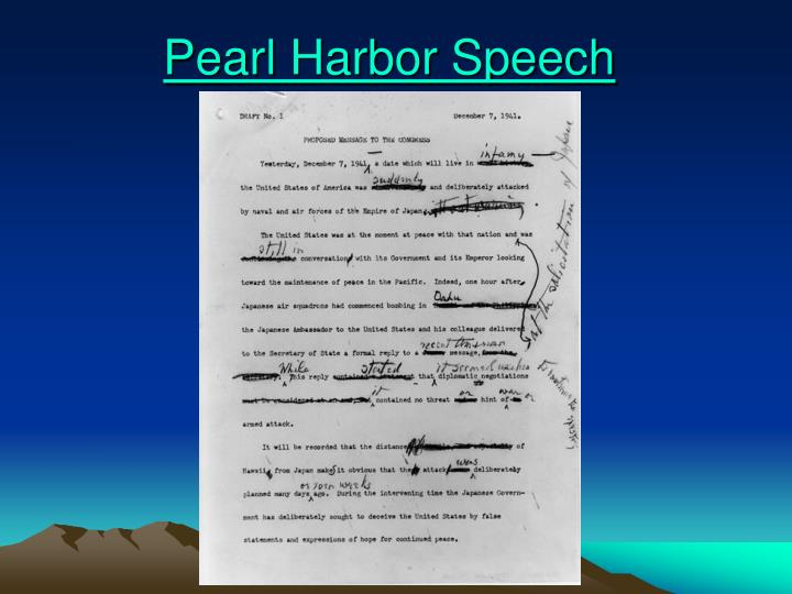 Pearl Harbor Speech