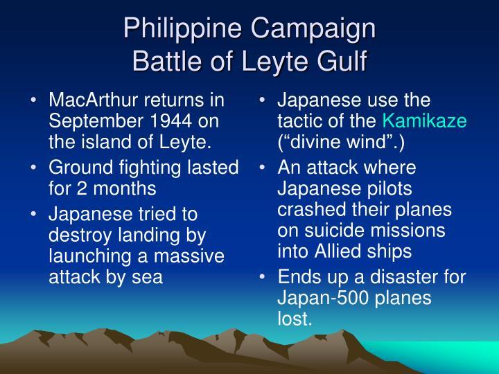 MacArthur returns in September 1944 on the island of Leyte.