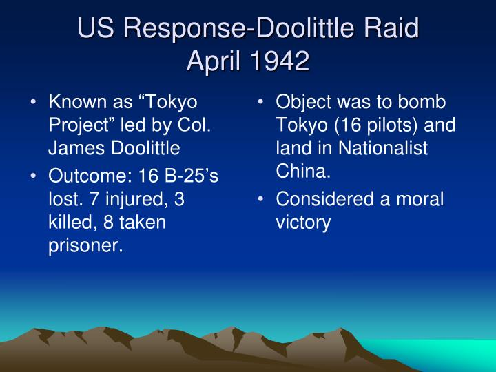 "Known as ""Tokyo Project"" led by Col. James Doolittle"