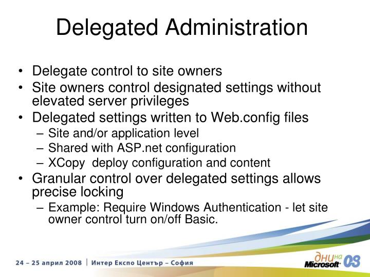 Delegate control to site owners