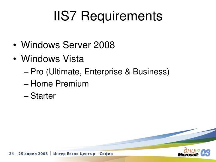 IIS7 Requirements