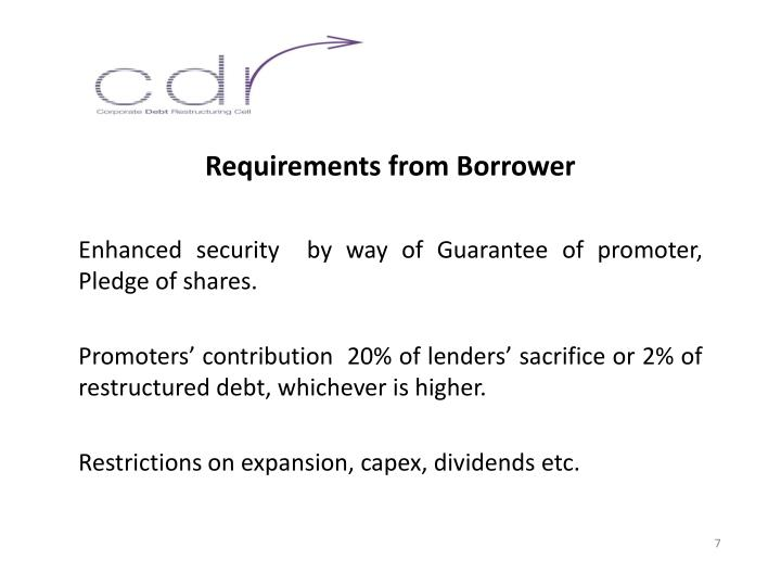 Requirements from Borrower