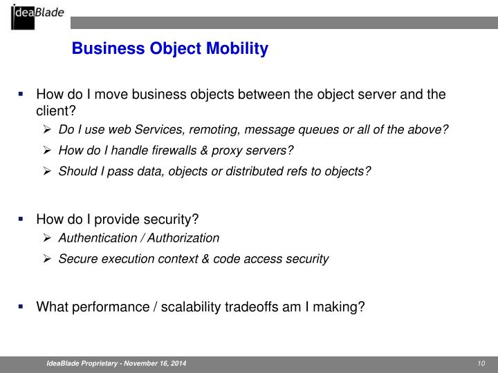 Business Object Mobility