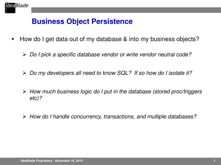 Business Object Persistence