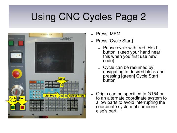Using CNC Cycles Page 2