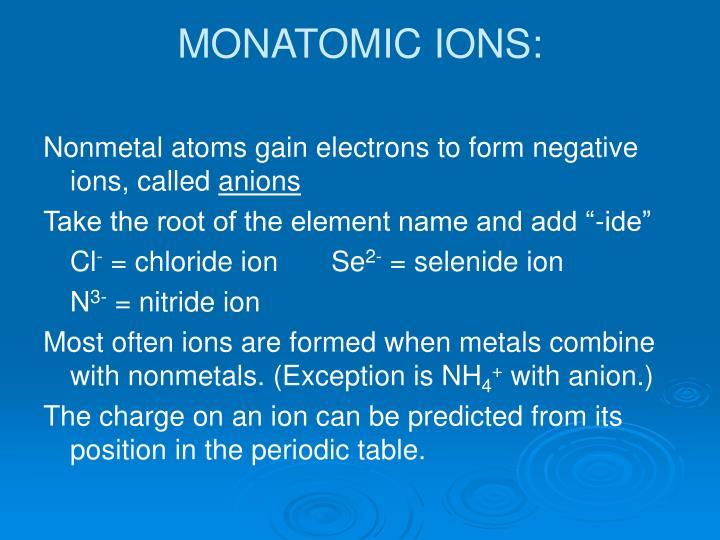 MONATOMIC IONS: