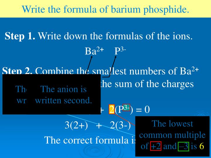 Write the formula of barium phosphide.